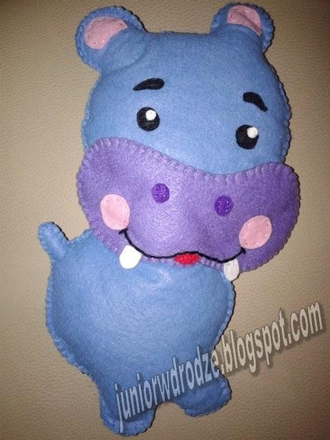 Uszyta maskotka z filcu hipopotam