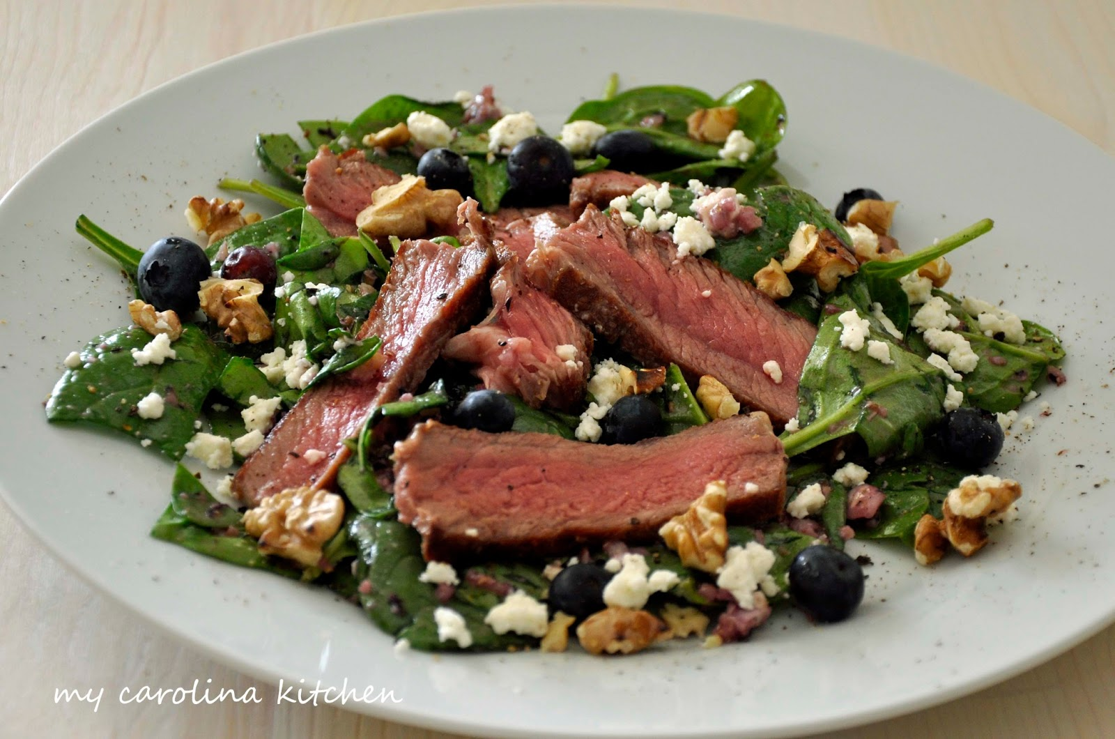My Carolina Kitchen: Steak Salad with Spinach, Blueberries ...