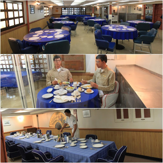 Dinning Halls for high ranking officers and guests at the USS Midway Museum in San Diego, California, USA