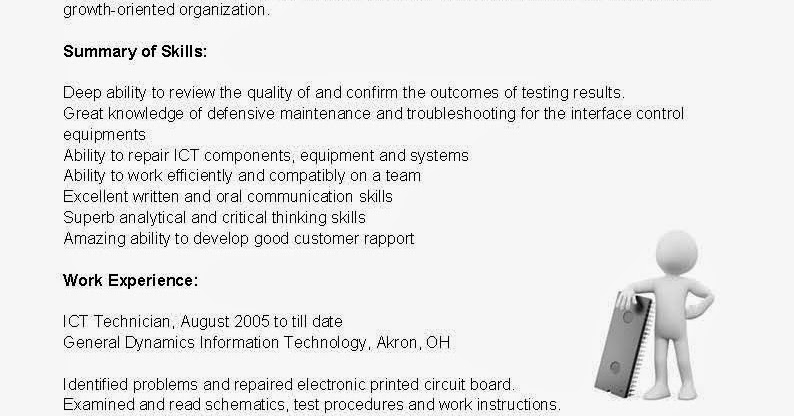 resume samples  ict technician resume sample