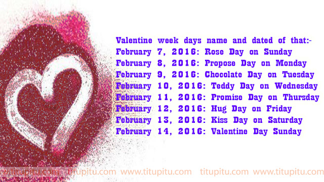 Valentine day calendar 2016