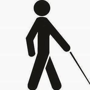 Descrição da imagem: símbolo indicativo de pessoa com deficiência visual; um boneco na cor preta em movimento de caminhada, a perna esquerda dá o passo e o braço direito esticado à frente apoia a bengala no chão. Fim da descrição.