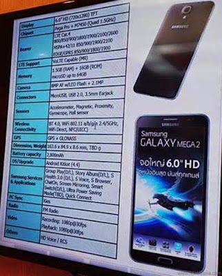 Samsung Galaxy Mega 2 Specifications Phablet Quad Core Processor