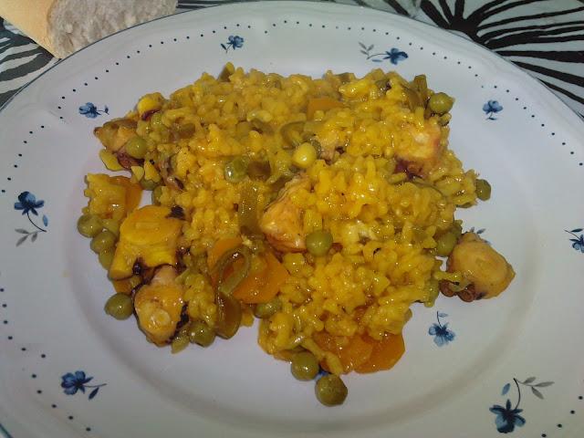 Las recetas de yoli arroz con pulpo en olla r pida for Pulpo en olla rapida