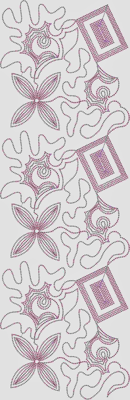 Geometriese vierkante borduurwerk oral patroon