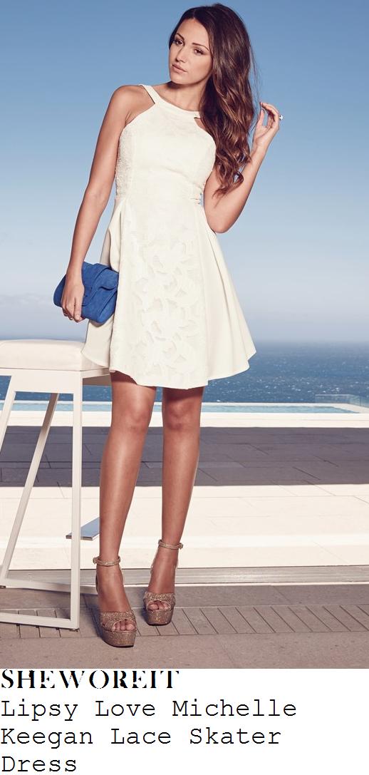 stephanie-waring-white-sleeveless-lace-panel-dress