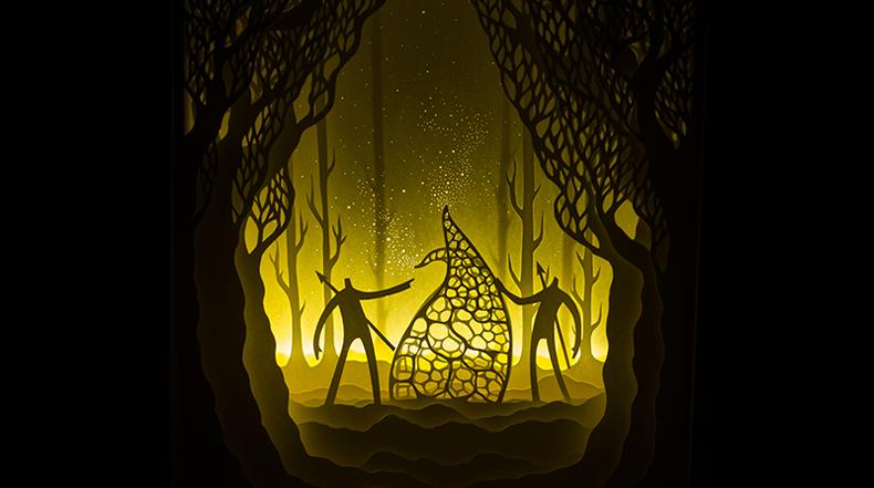 Papel cortado iluminado en cajas de luz por Hari y Deepti