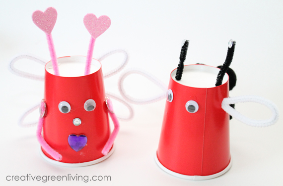{Kids Craft} Make Love Bugs For Valentineu0027s Day With Recycled Paper Cups
