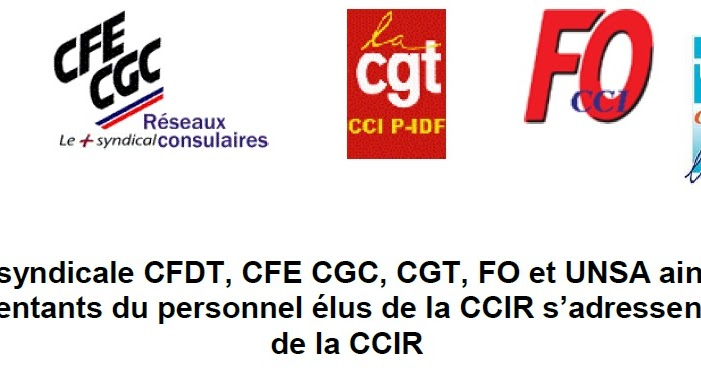 L 39 intersyndicale et les repr sentants du personnel de la for Chambre de commerce et d industrie de paris ccip