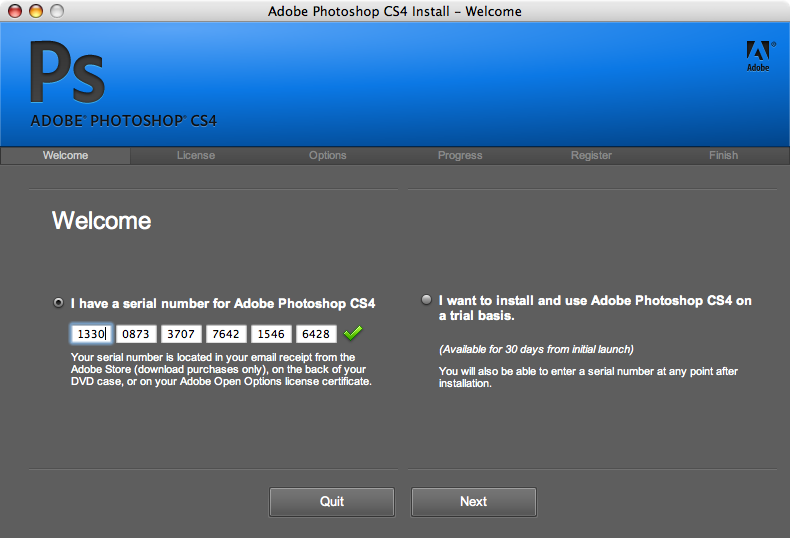 Adobe photoshop cs4 serial number mac