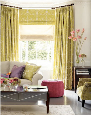 window treatments layering drapes Roman shade