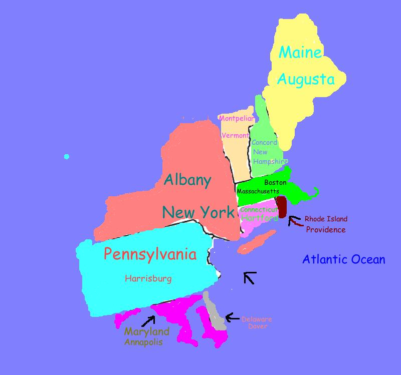 Northeastern States Map With Capitals Ne states