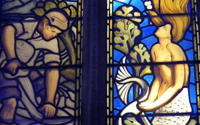 The Blake Mere Mermaid, in stained glass