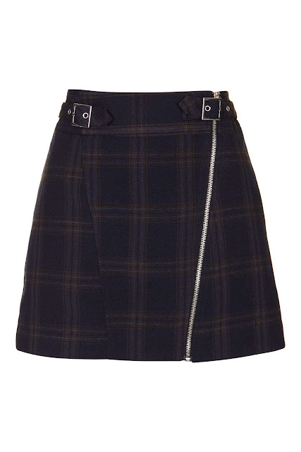 navy wool check skirt, topshop check zip skirt,