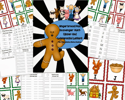http://www.teacherspayteachers.com/Product/Gingerbread-Man-Alphabet-Scavenger-Hunt-Upper-and-Lowercase-Letters-1019333