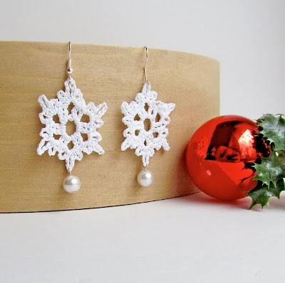 free crochet pattern snowflake earrings