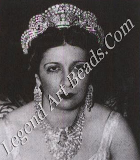 Queen Nazli of Egypt at her daughter's wedding in 1939, wearing the jewels created by Van Cleef & Arpels for the occasion.