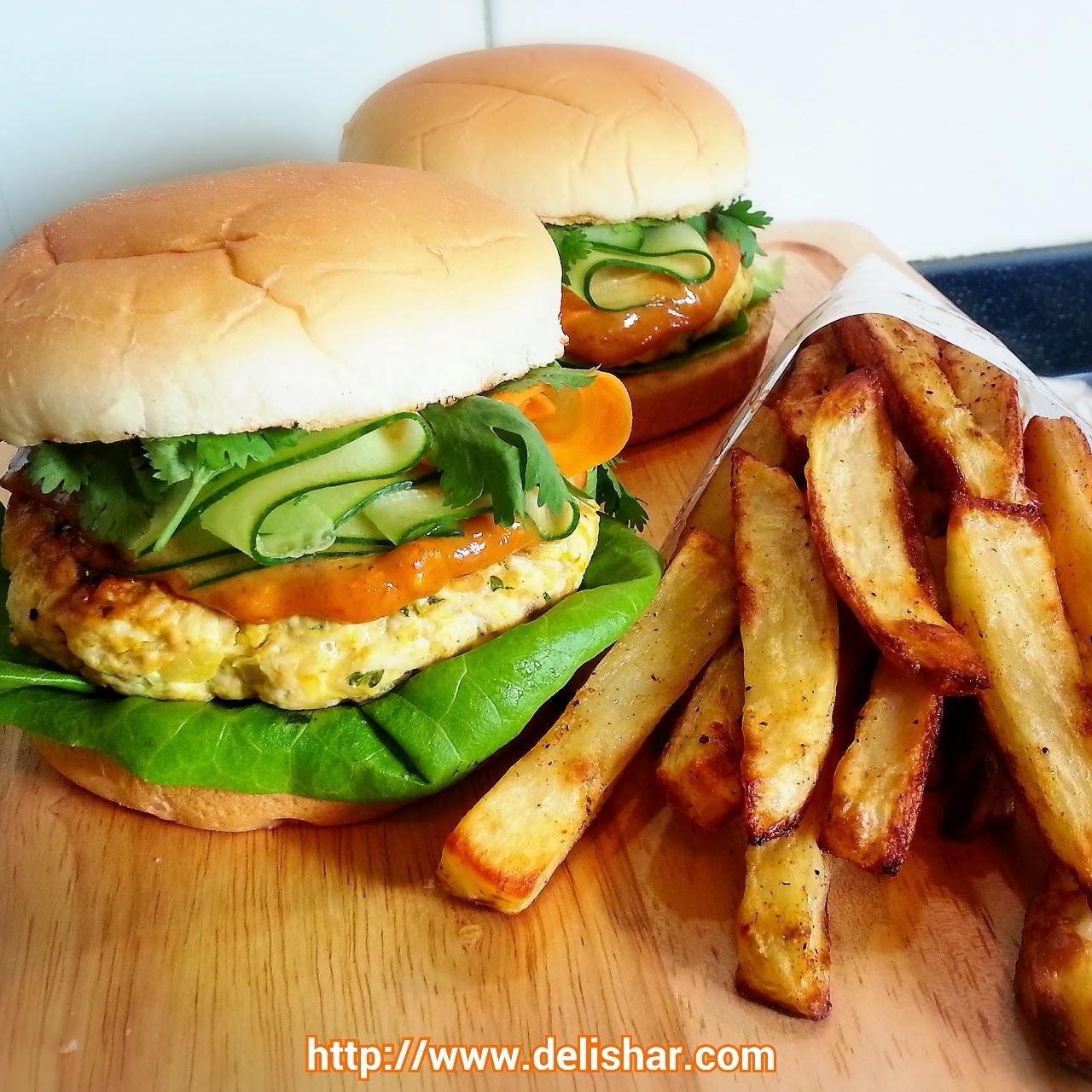 DELISHAR: Satay Chicken Burger with Spicy Peanut Sauce