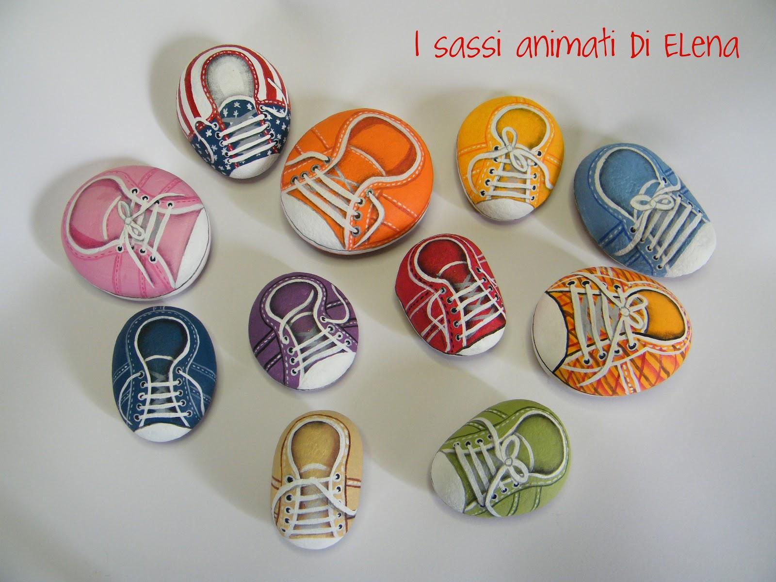 Elena sanson dipinti su sasso: le scarpette