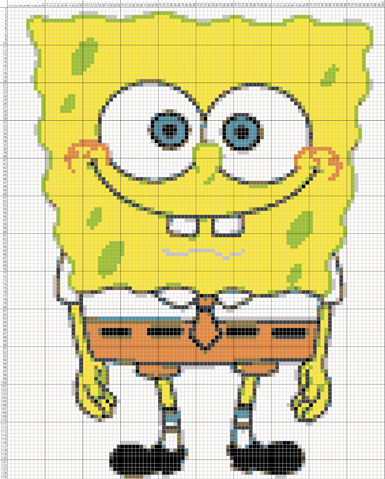 Gambar Pola Kristik Sederhana Spongebob