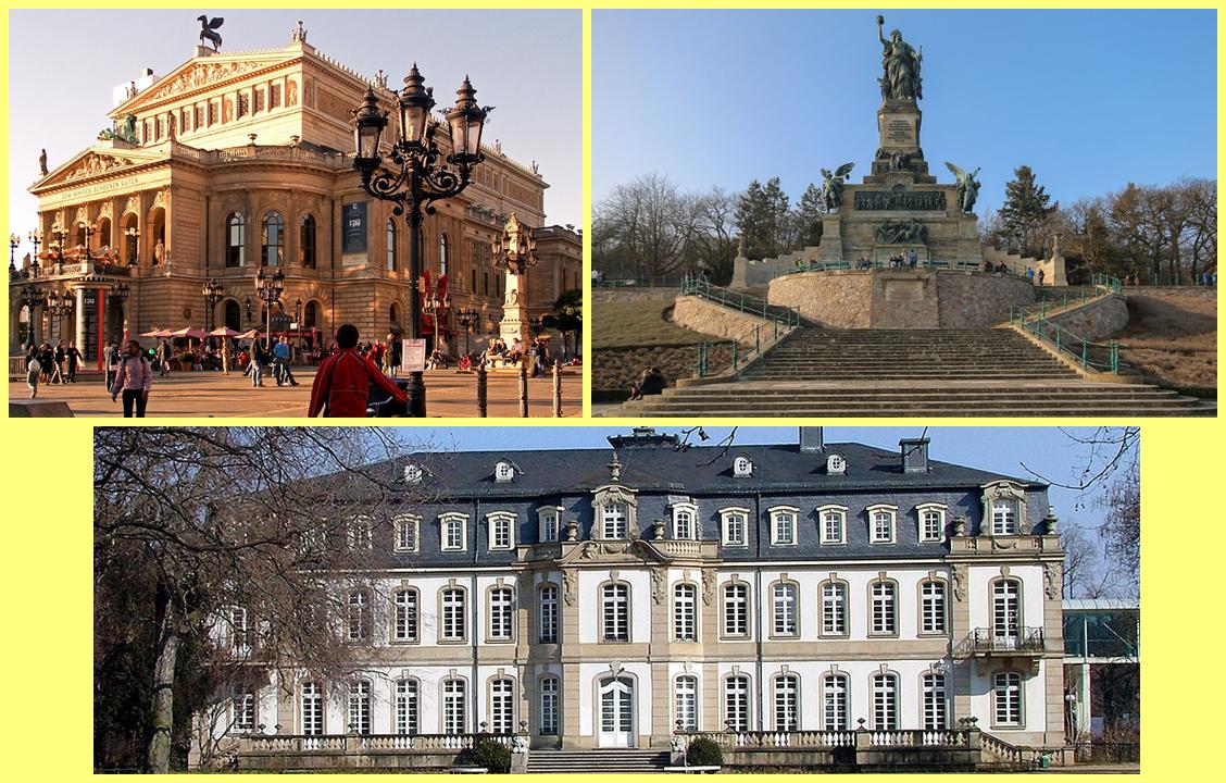 Alte Oper de Frankfurt, el Niederwalddenkmal en Rüdesheim o el Palacio de Büsing en Offenbach