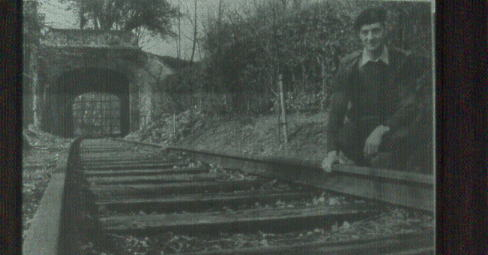 Major Hutton-Dunton examines the track by tunnel 1986