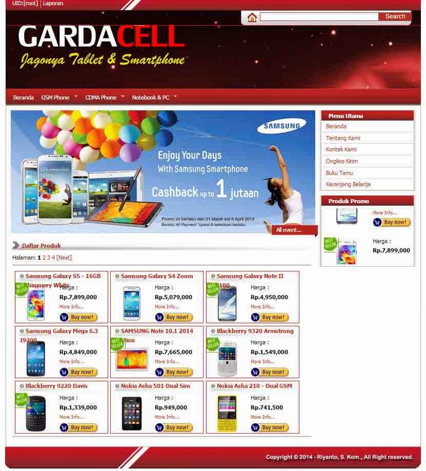 Source Code Toko Online Telepon Celluler Gardacell Sederhana
