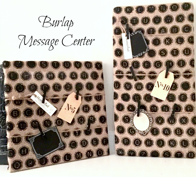 How to Make an Easy Burlap Message Center www.homeroad.net