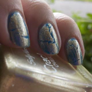 Sally Hansen Antiqued Gold over OPI Ogre the Top Blue