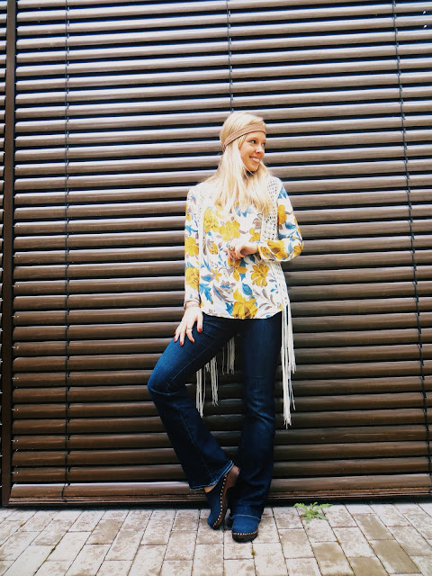 Oasap yellow floral blouse, Deb fringe vest, SKAR Designs crescent moon necklace, Sandgrens Athens clogs, Marisa Diane Designs agate ring, 1970s vintage style, vintage outfit, hippie outfit