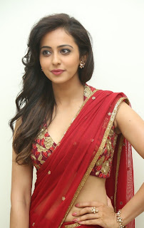 Actress Rakul Preet Singh  Pictures in Red Saree at Tiger Audio Release Function  18.JPG