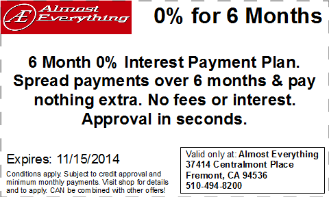 Coupon 6 Month Interest Free Payment Plan October 2014