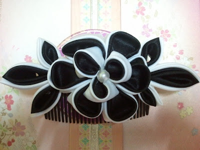 kanzashi, hair comb, Malaysia, peony