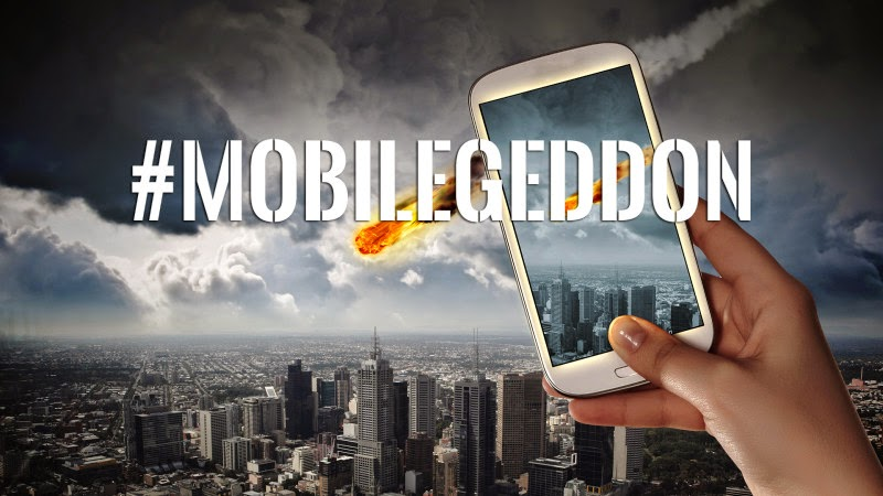 #Mobilgeddon in white text over a hand holding a smartphone.  The mobile user is taking a photo of a fiery comet hurtling towards a metropolitan city.