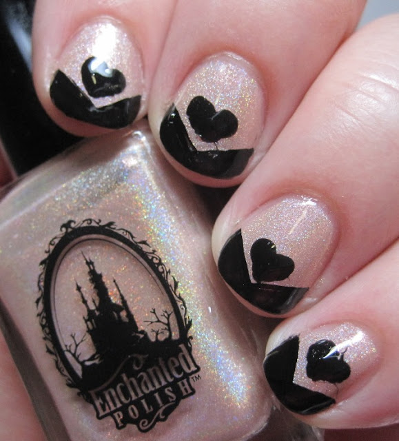 black chevron tip and heart on nude holo base
