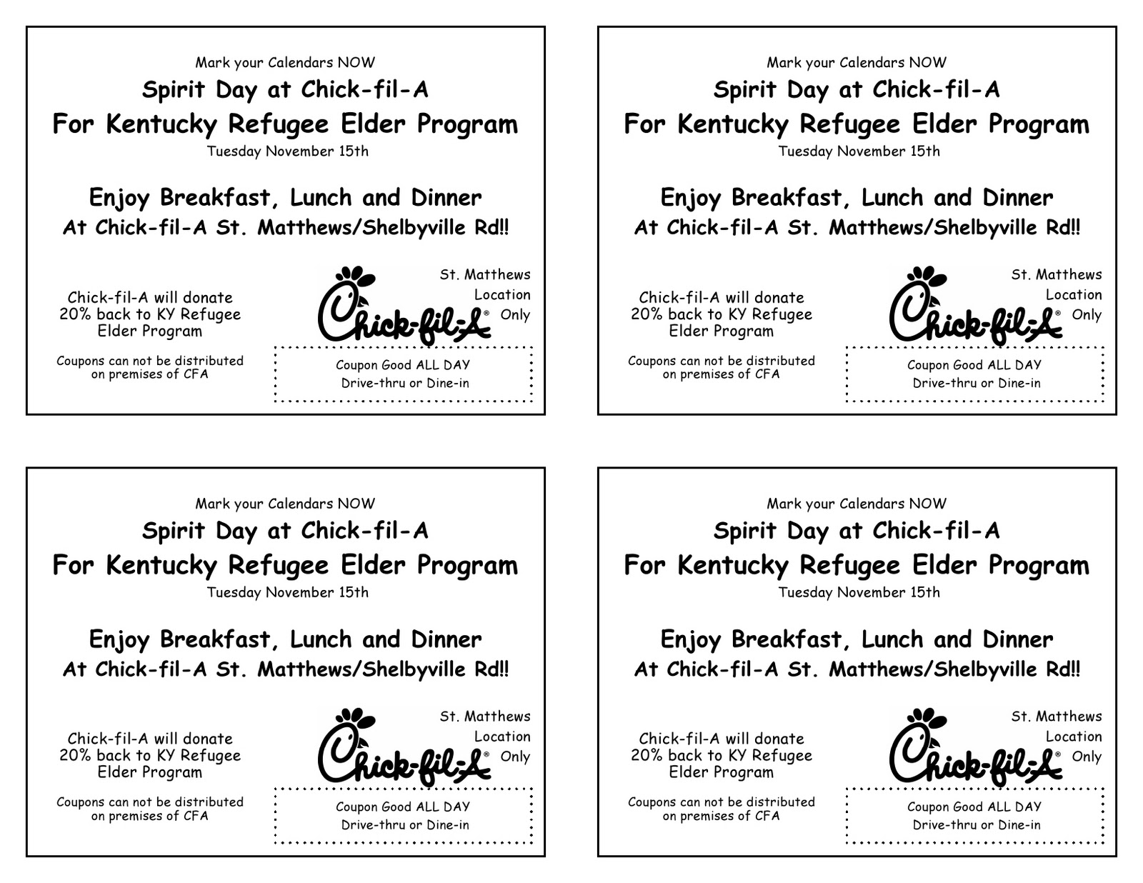 louisville refugee elder program eat out for us chick fil a. Black Bedroom Furniture Sets. Home Design Ideas