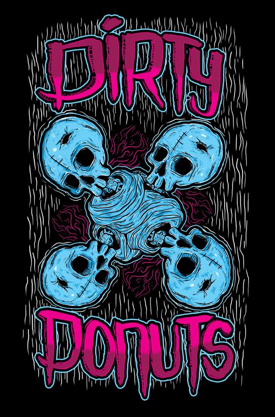 Cetak baju Dirty skull donuts