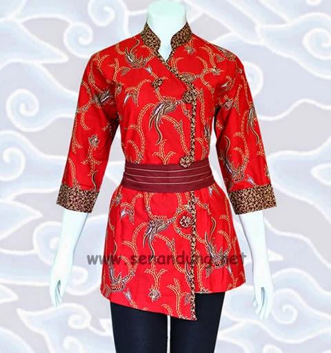 blus batik kerah shanghai