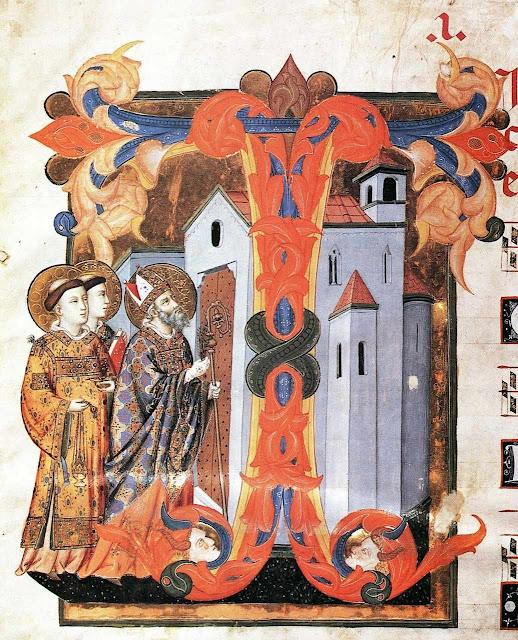 Dedicação de uma igreja. Iluminura medieval.