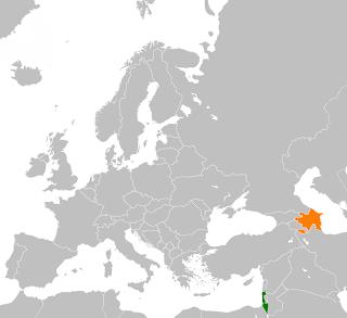 Carte présentant Israël en vert et l'Azerbaïdjan en orange