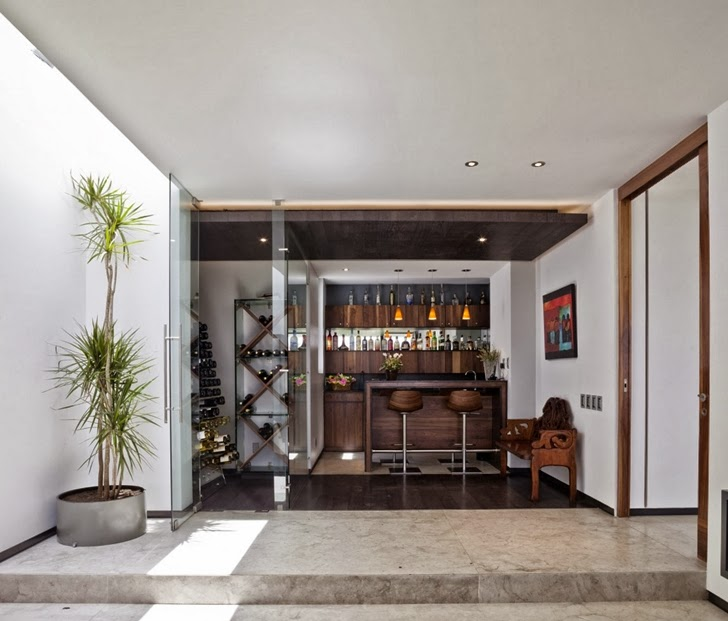 Private bar in Contemporary Casa Río Hondo in Mexico City