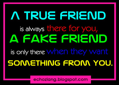 A fake friend is only there when they want something for you.