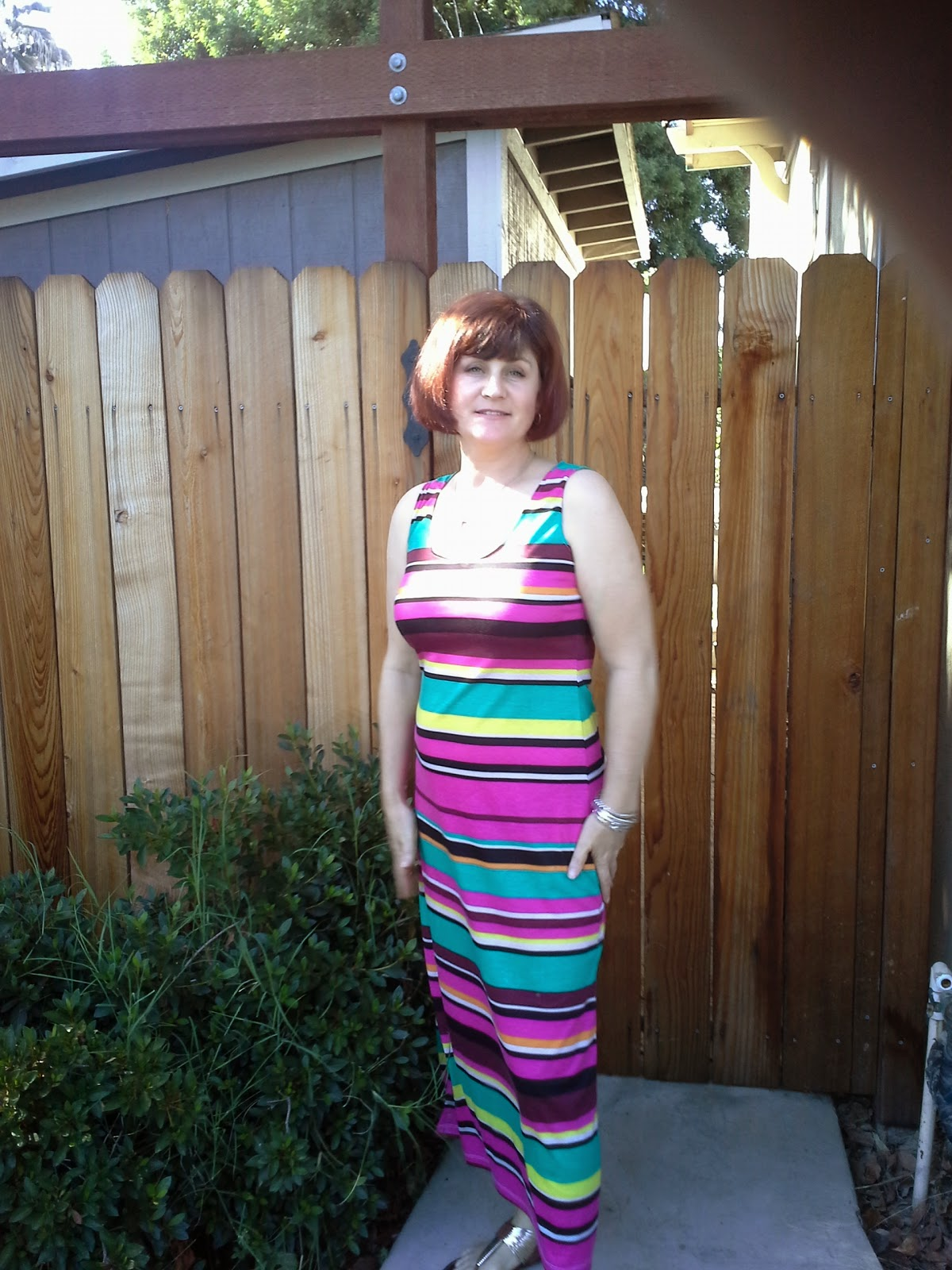M6559 Striped Maxi dress