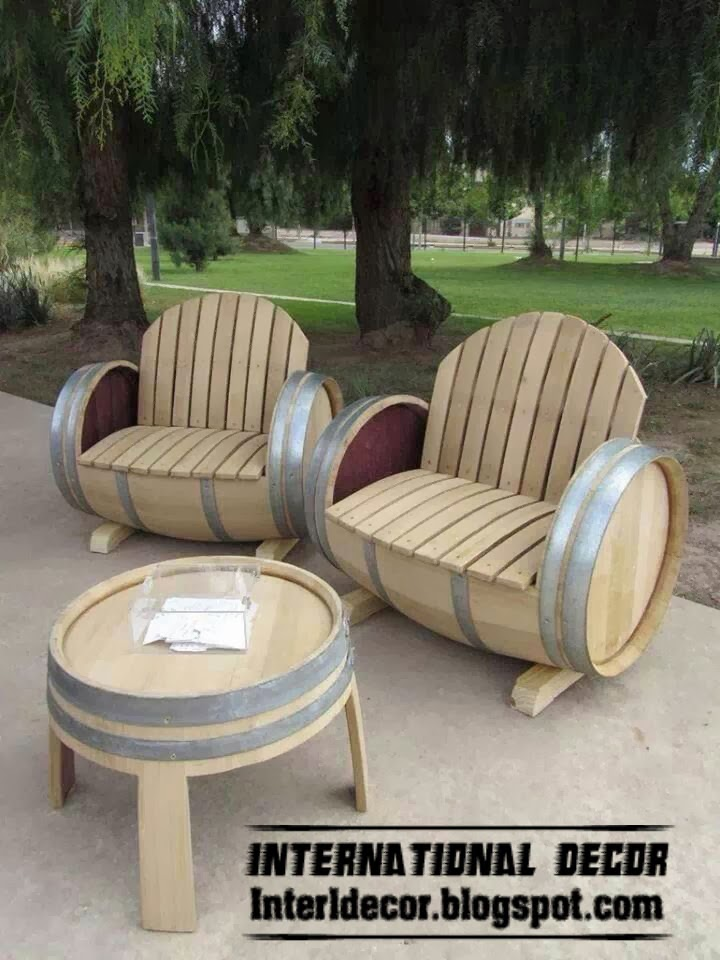 outdoor wood furniture, wood coffee table and chairs, outdoor furniture