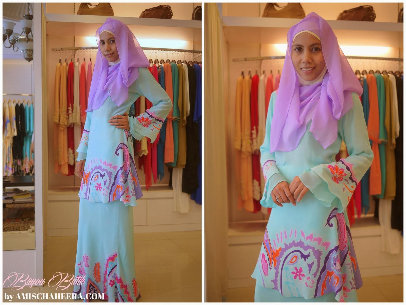 Quickly I asked Puan Hazlina to show me fesyen baju kurung moden kain batik terkini