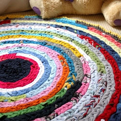 Patrones trapillo alfombra redonda de colores - Alfombra de trapillo cuadrada ...