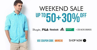 Weekend Sale: Upto 50% + Get Additional 30% Off on Men's & Women's Fashion Styles