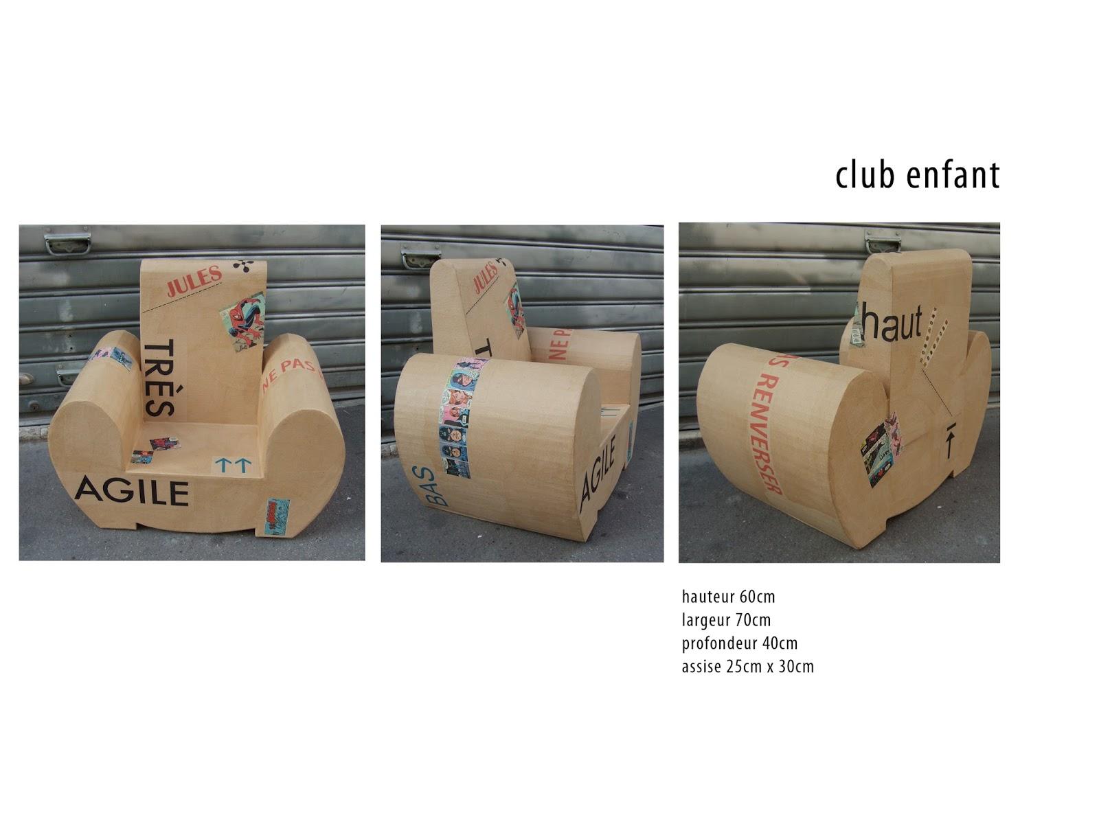 fauteuil club en carton design pour enfant. fabriqué à marseille par juliadesign