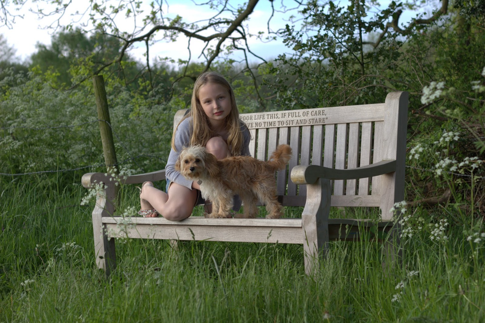 MiMi and Lulu on the bench