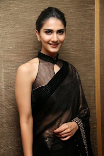 vaani kapoor new  stills in black saree(2)